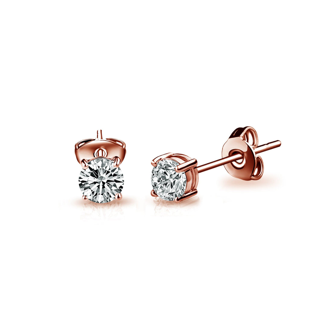 Three Pack of Rose Gold-Tone 4mm, 5mm & 6mm Earrings