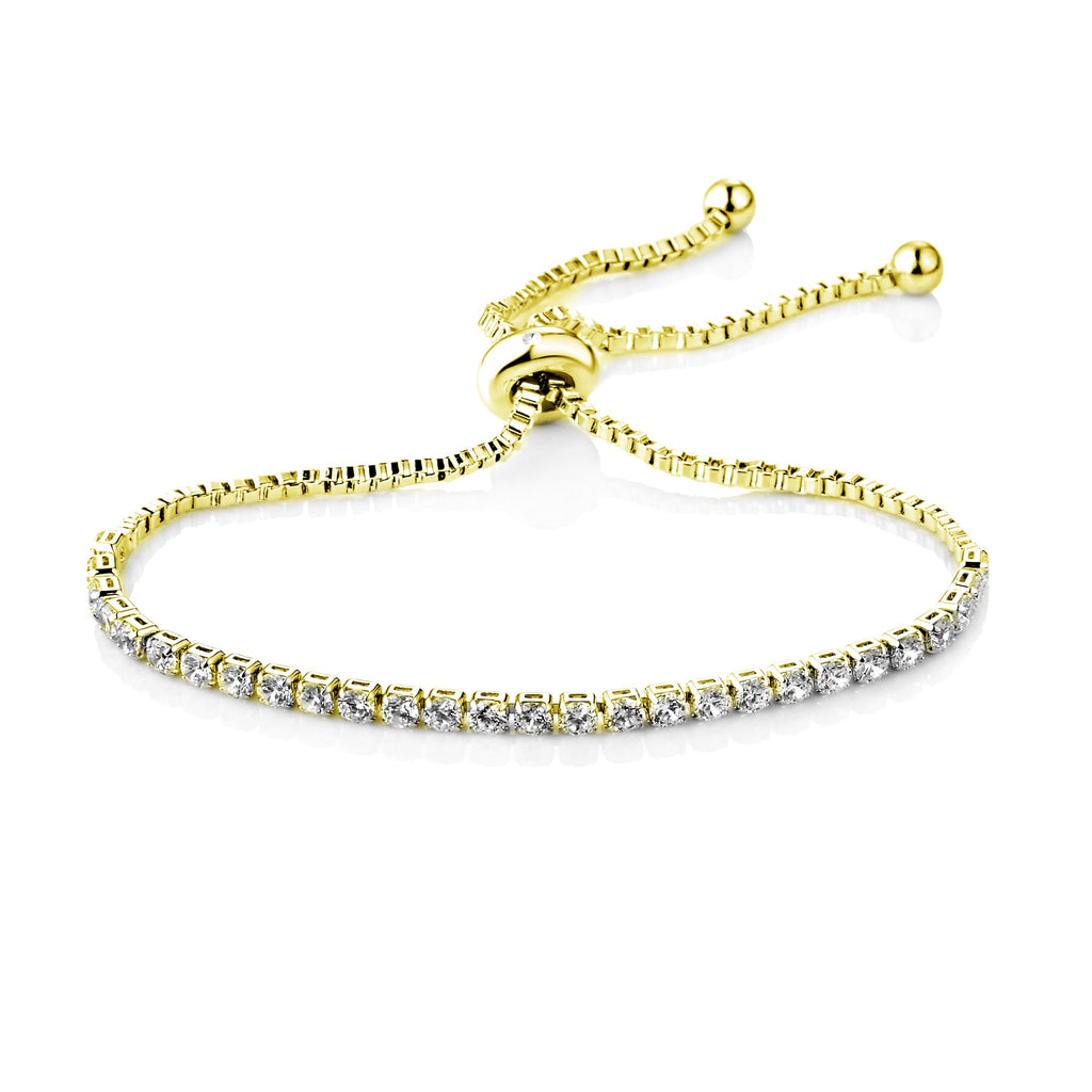 Gold Solitaire Friendship Bracelet Created with Swarovski Crystals