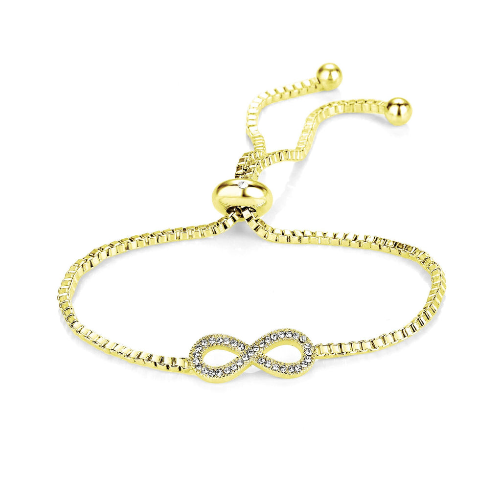 Gold Infinity Friendship Bracelet Created with Swarovski Crystals