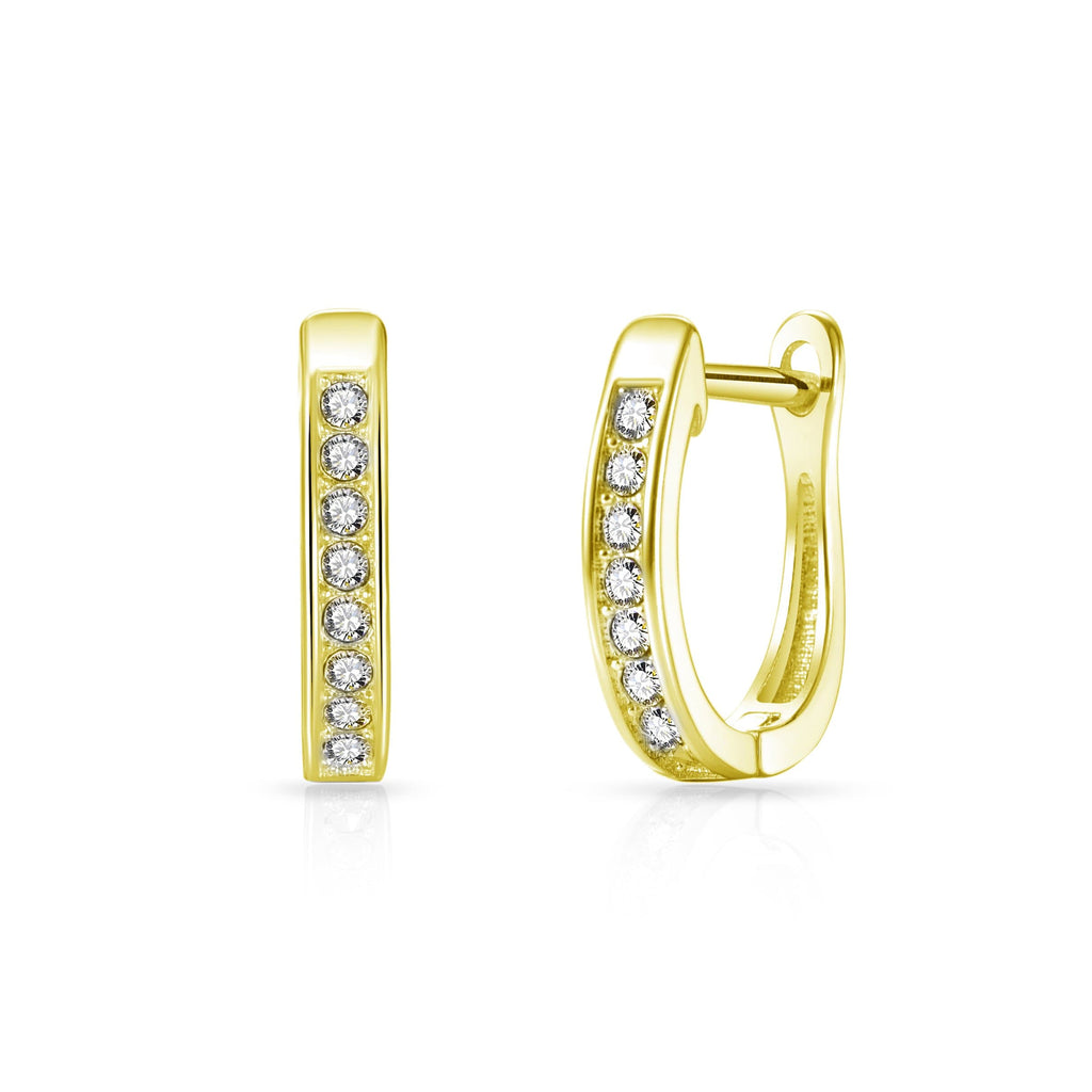 Gold Channel Set Hoop Earrings Created with Swarovski Crystals