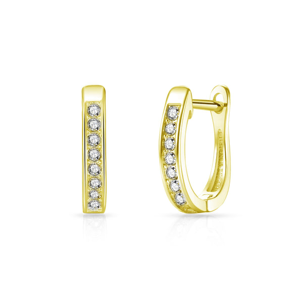 Gold-Tone Channel Set Hoop Earrings