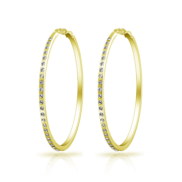 Gold 50mm Hoop Earrings Created with Swarovski® Crystals