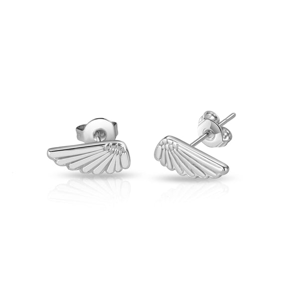 Silver-Tone Angel Wing Earrings
