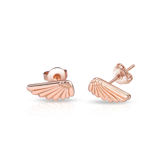 Rose Gold-Tone Angel Wing Earrings