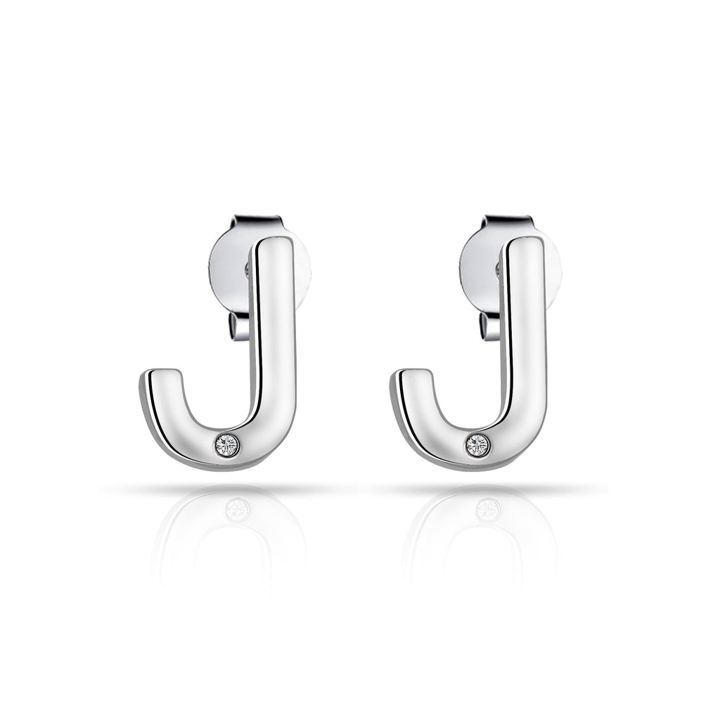 Initial Earrings Letter J Created with Swarovski® Crystals