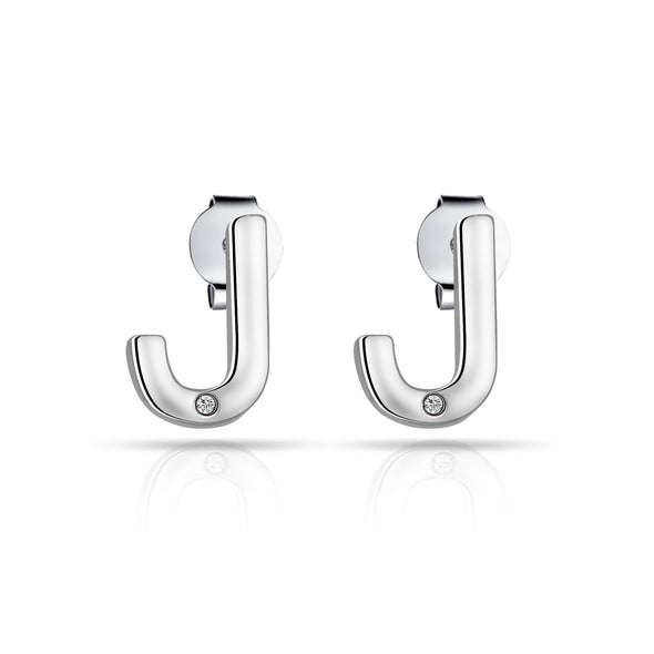 Initial Earrings Letter J Created with Swarovski Crystals