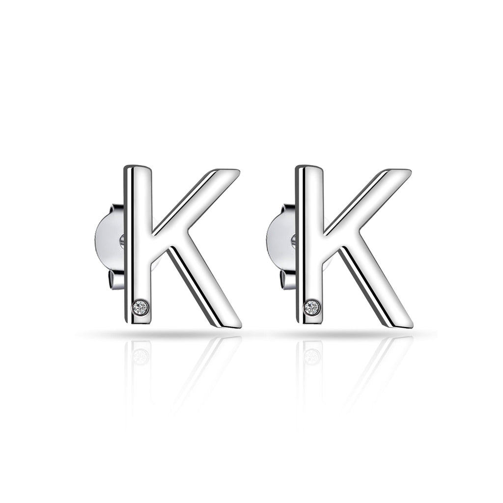 Initial Earrings Letter K Created with Swarovski Crystals
