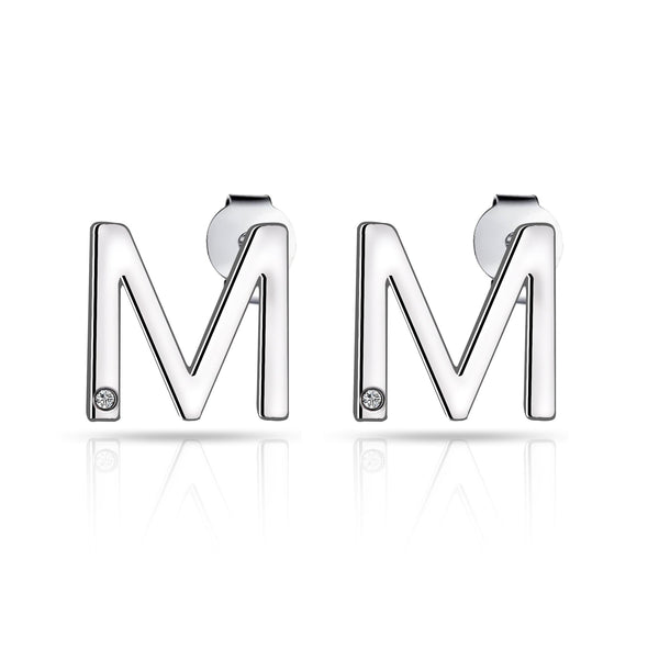 Initial Earrings Letter M Created with Swarovski Crystals