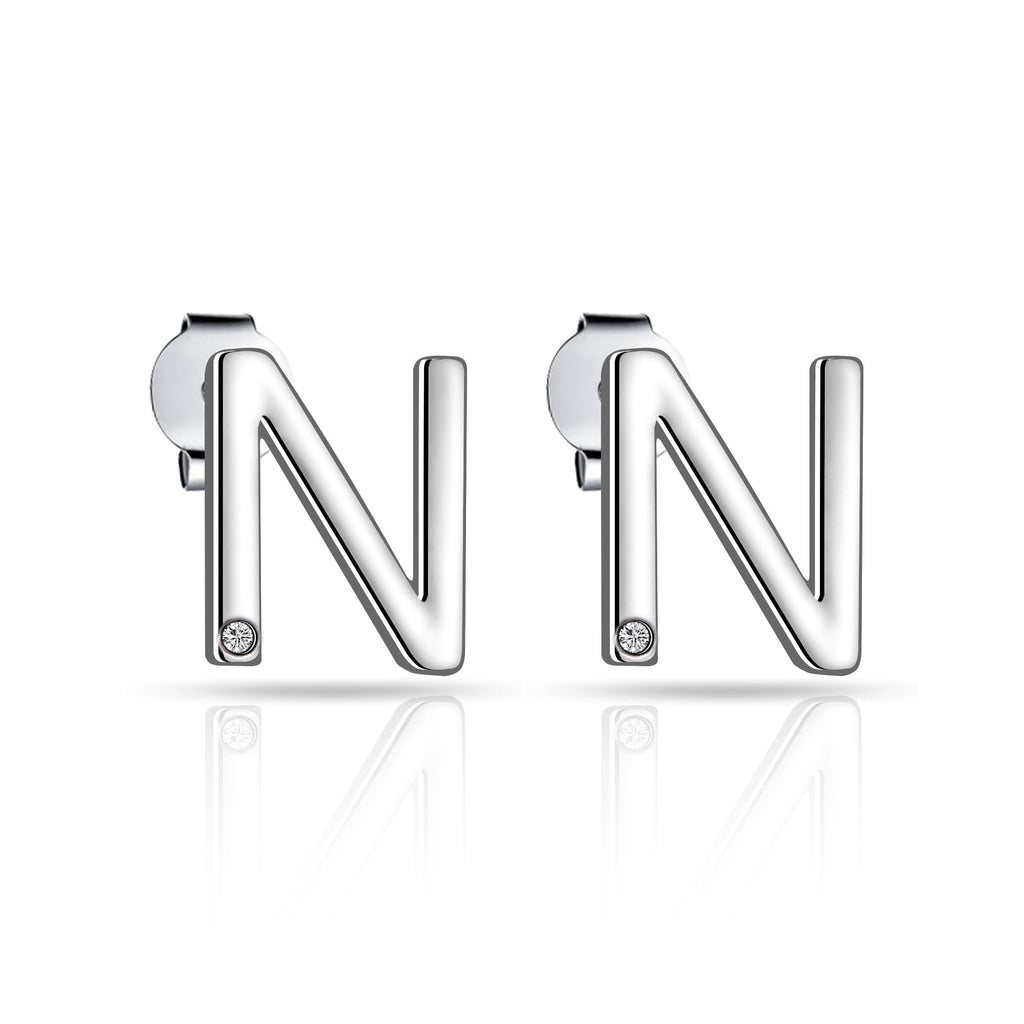 Initial Earrings Letter N Created with Swarovski Crystals