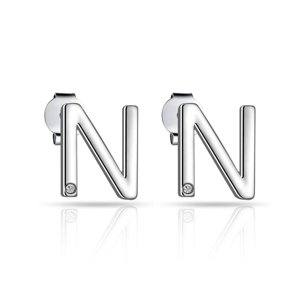 Initial Earrings Letter N