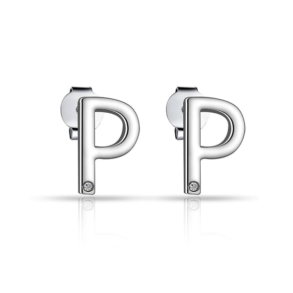 Initial Earrings Letter P Created with Swarovski Crystals