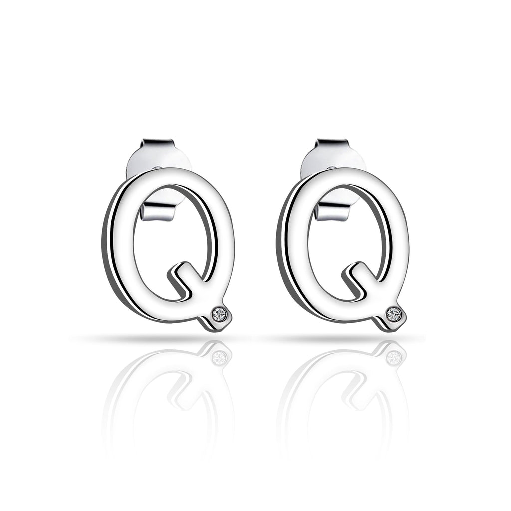 Initial Earrings Letter Q Created with Swarovski Crystals