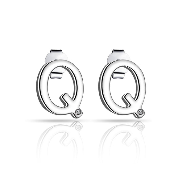 Initial Earrings Letter Q Created with Swarovski® Crystals