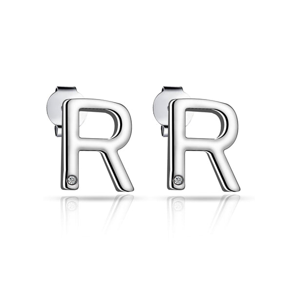 Initial Earrings Letter R Created with Swarovski Crystals