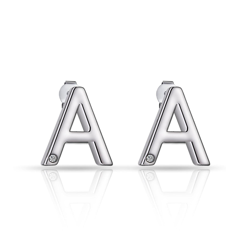 Initial Earrings Letter A Created with Swarovski Crystals