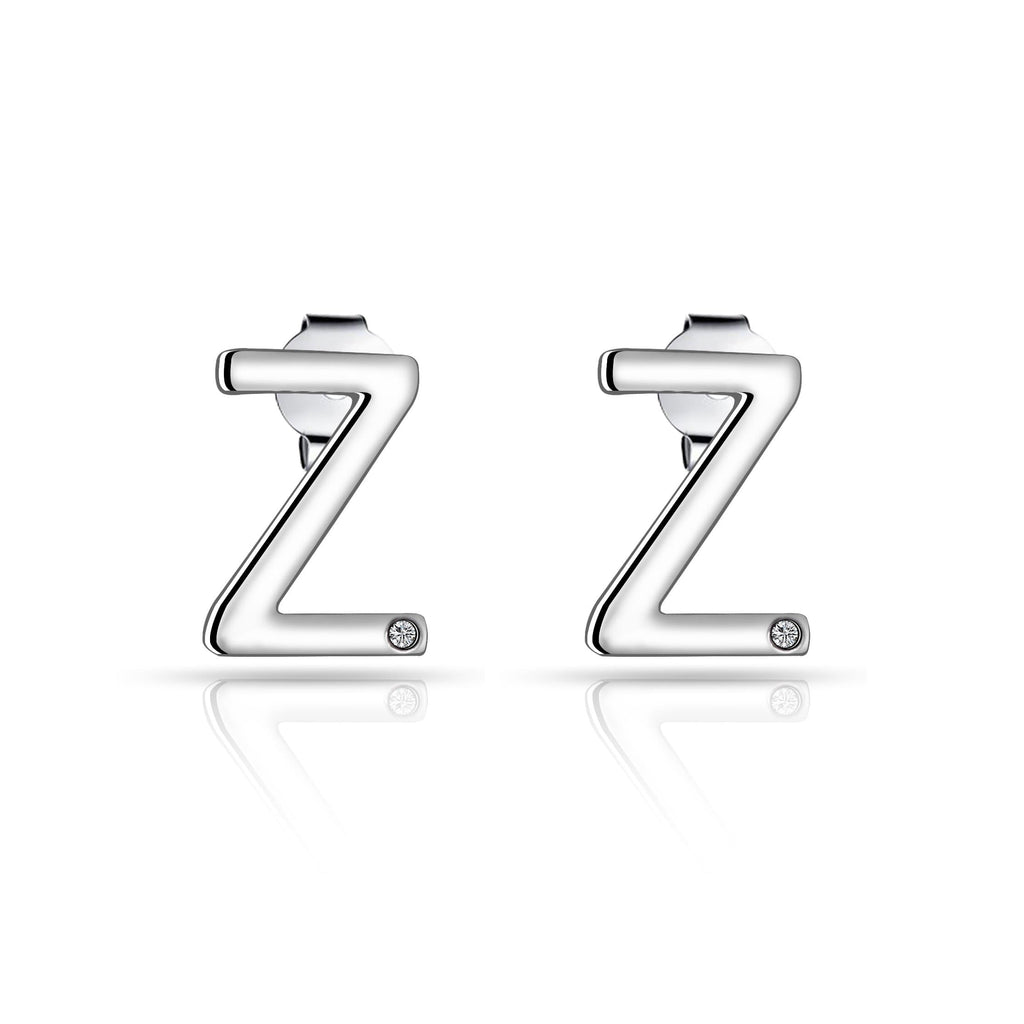 Initial Earrings Letter Z Created with Swarovski Crystals