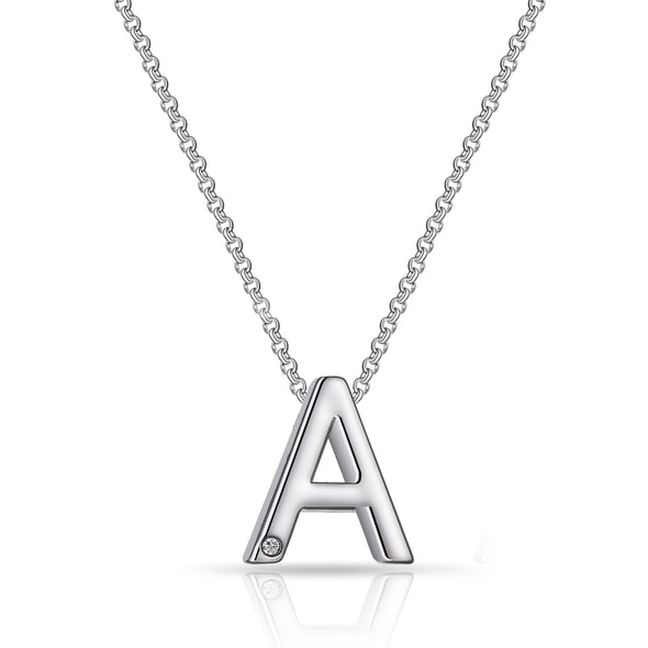Initial Necklace Letter A Created with Swarovski Crystals