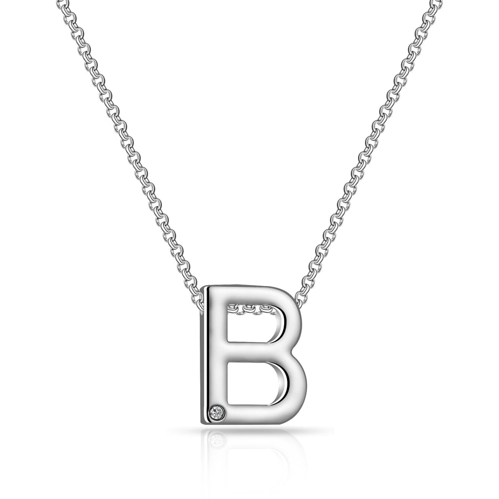 Initial Necklace Letter B Created with Swarovski Crystals