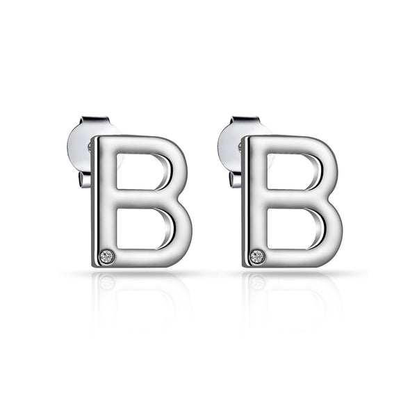 Initial Earrings Letter B Created with Swarovski Crystals