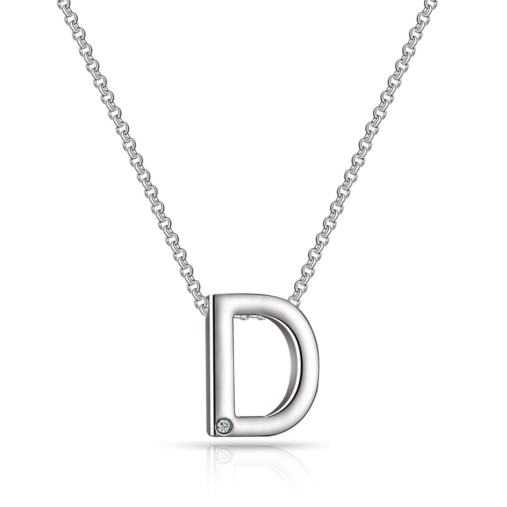 Initial Necklace Letter D Created with Swarovski Crystals