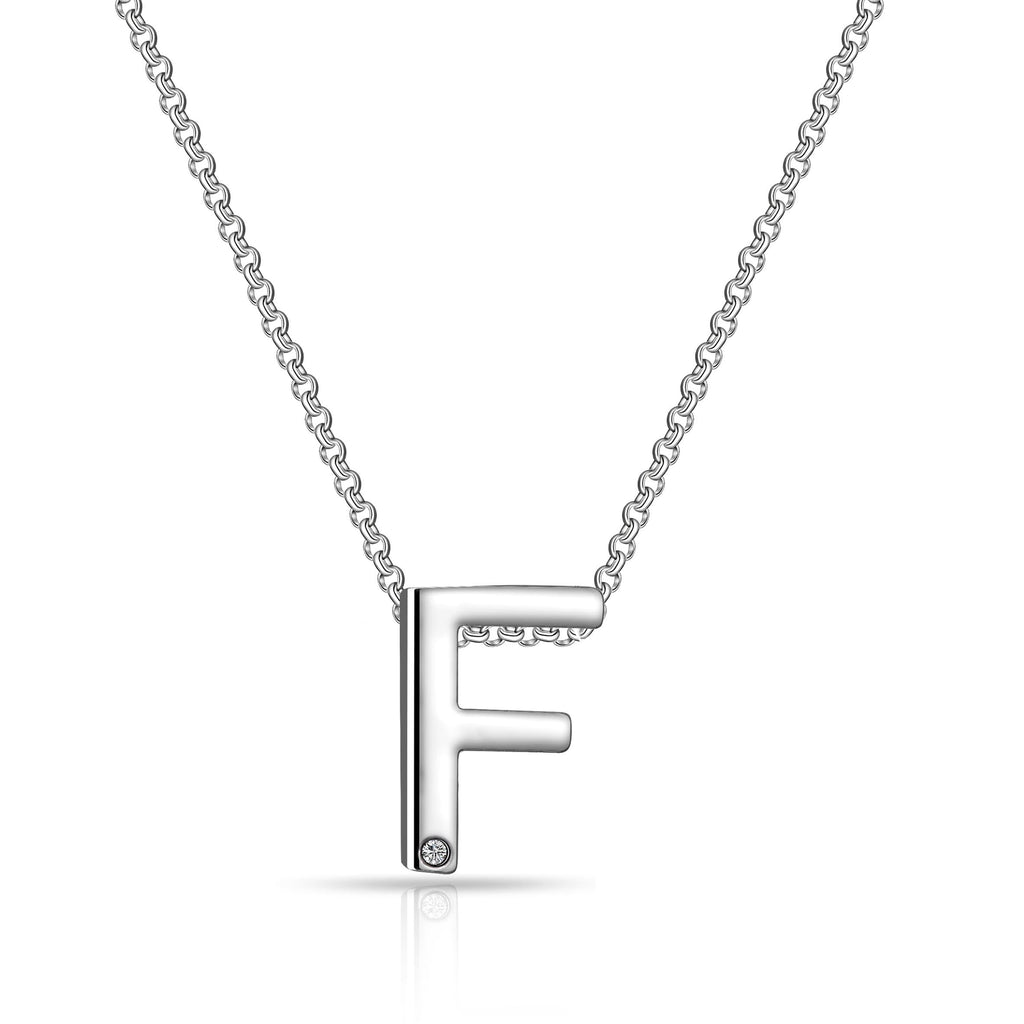 Initial Necklace Letter F Created with Swarovski Crystals