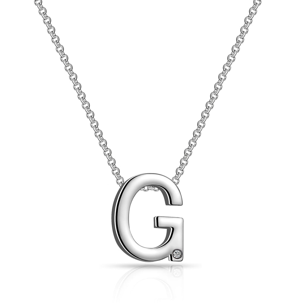 Initial Necklace Letter G Created with Swarovski Crystals