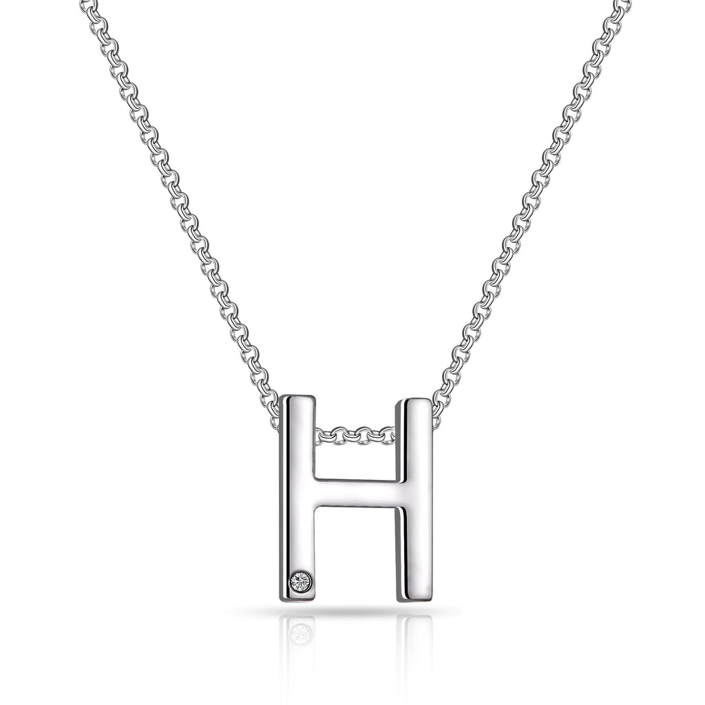 Initial Necklace Letter H Created with Swarovski Crystals