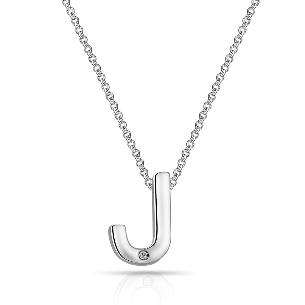 Initial Necklace Letter J Created with Swarovski Crystals