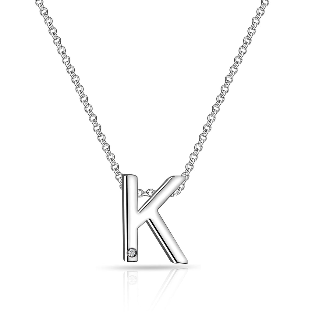 Initial Necklace Letter K Created with Swarovski Crystals