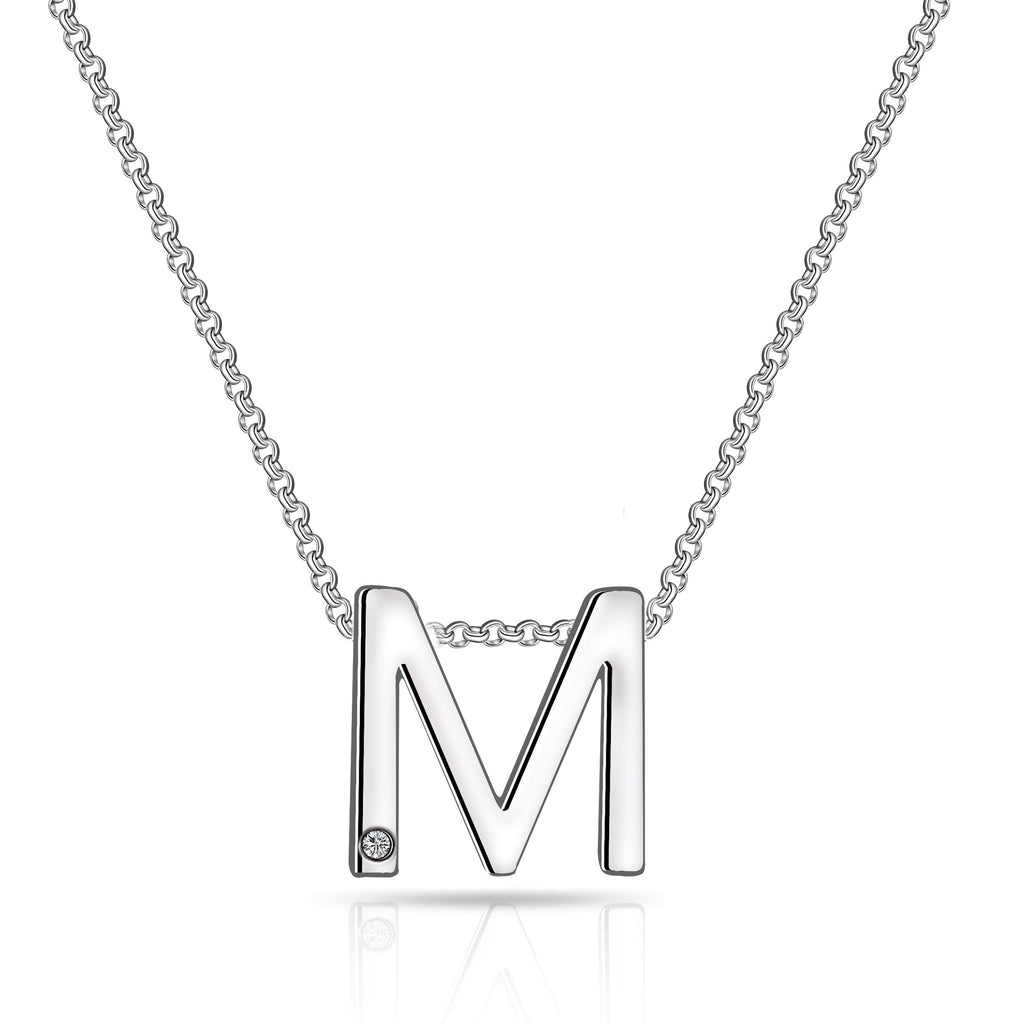 Initial Necklace Letter M Created with Swarovski Crystals