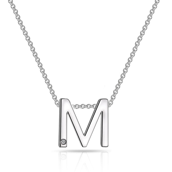 Initial Necklace Letter M Created with Swarovski® Crystals