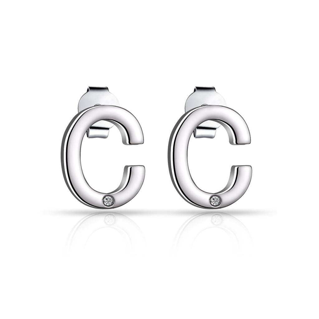 Initial Earrings Letter C Created with Swarovski Crystals