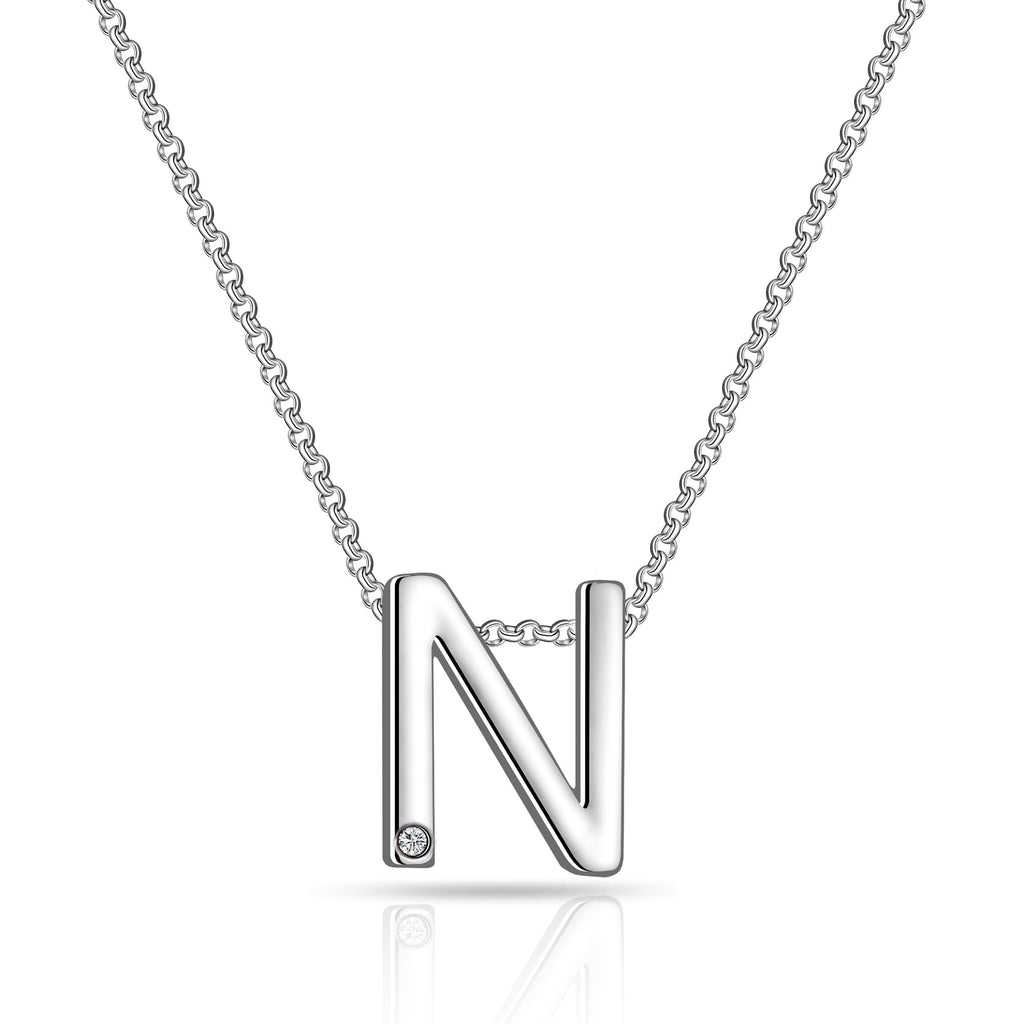 Initial Necklace Letter N Created with Swarovski Crystals