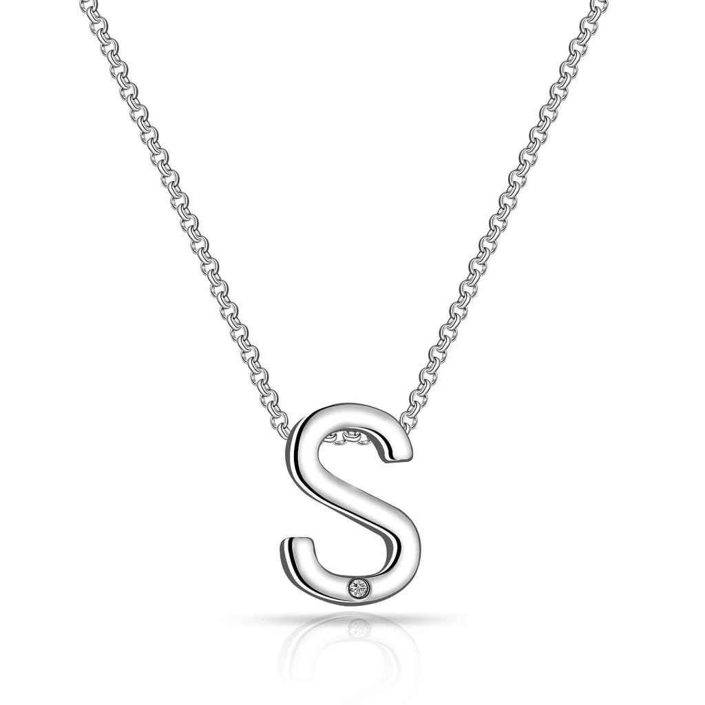 Initial Necklace Letter S Created with Swarovski Crystals