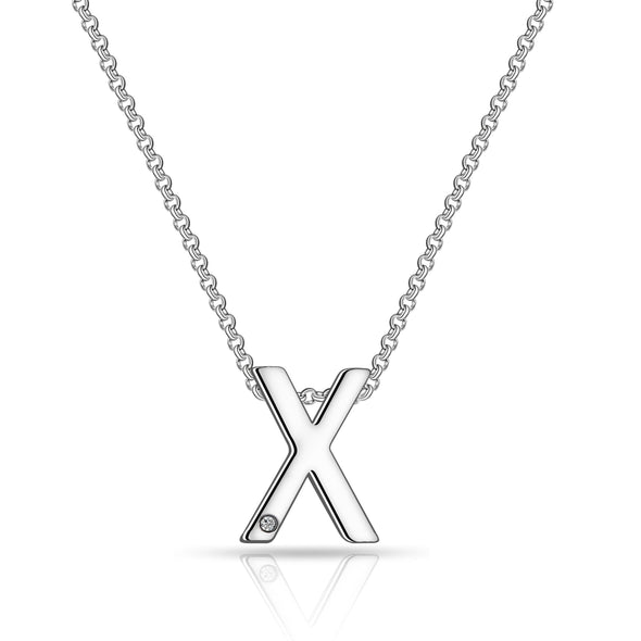 Initial Necklace Letter X Created with Swarovski Crystals