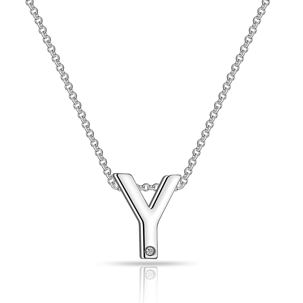 Initial Necklace Letter Y Created with Swarovski Crystals