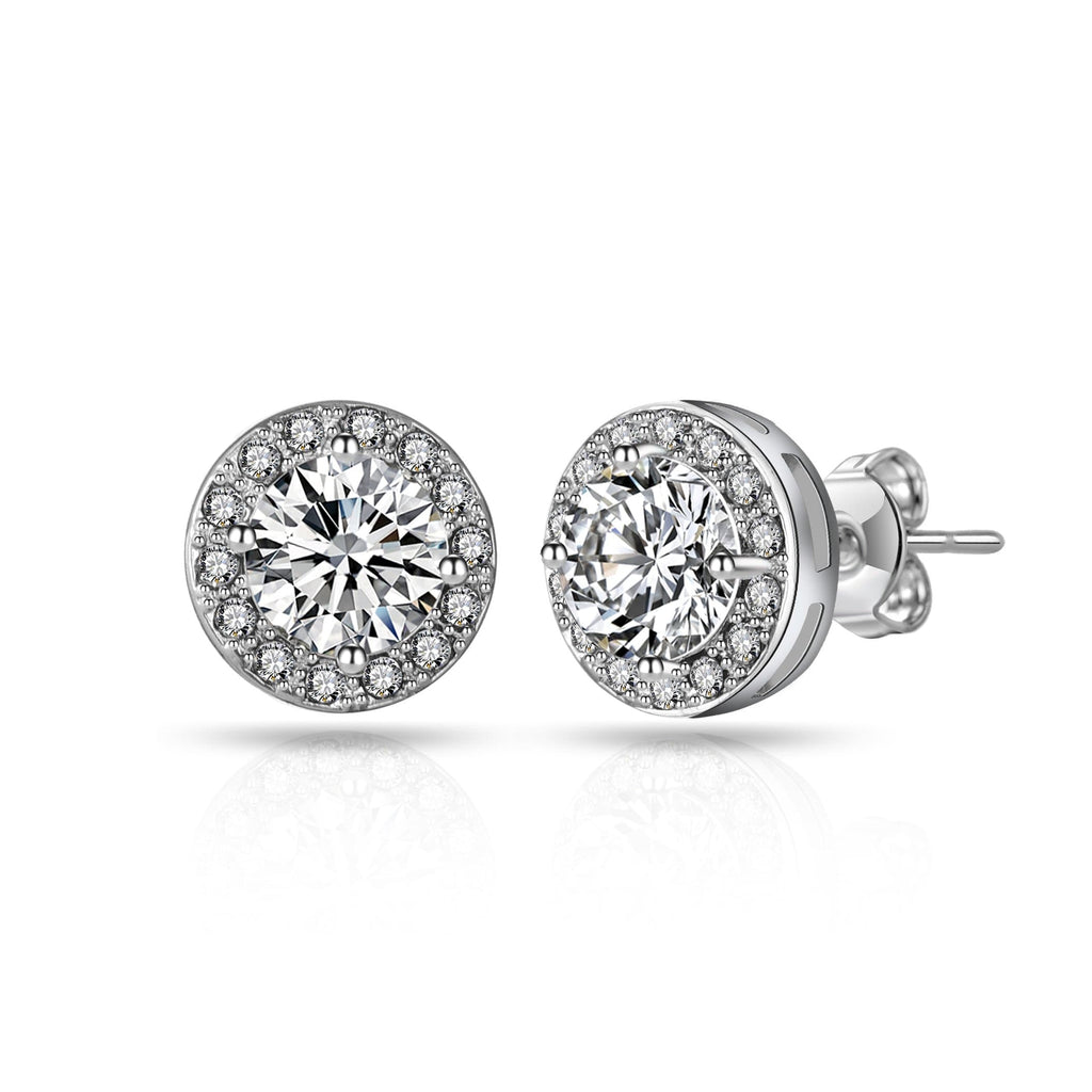 Silver Halo Earrings Created with Swarovski Crystals