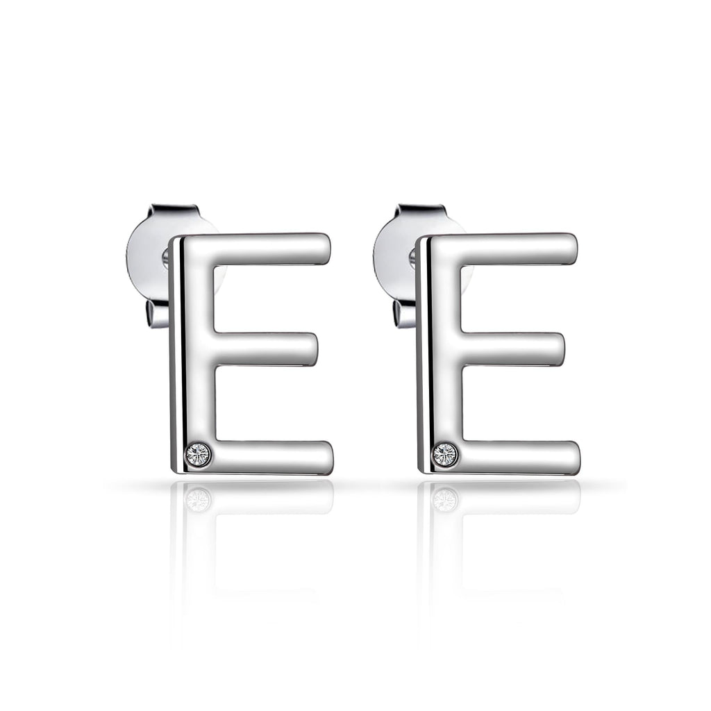 Initial Earrings Letter E Created with Swarovski Crystals