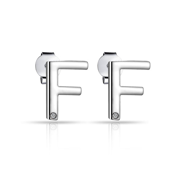 Initial Earrings Letter F Created with Swarovski Crystals
