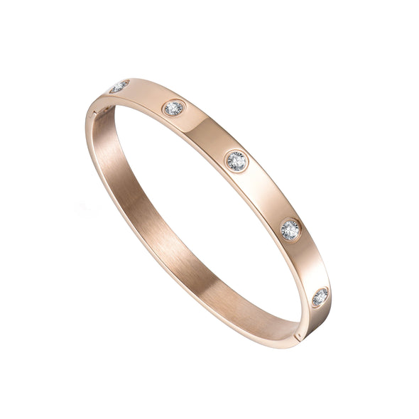Rose Gold-Tone Stud Bangle