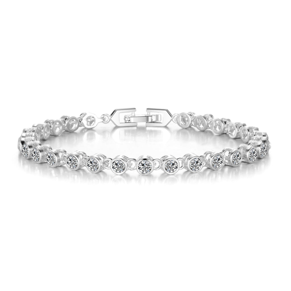 Solitaire Bracelet Created with Swarovski Crystals