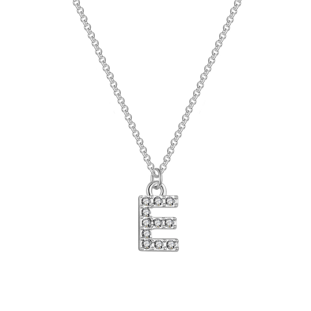 Pave Initial Necklace Letter E Created with Swarovski Crystals