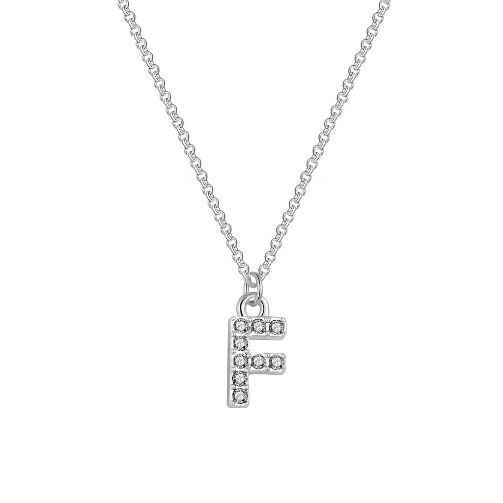 Pave Initial Necklace Letter F Created with Swarovski Crystals
