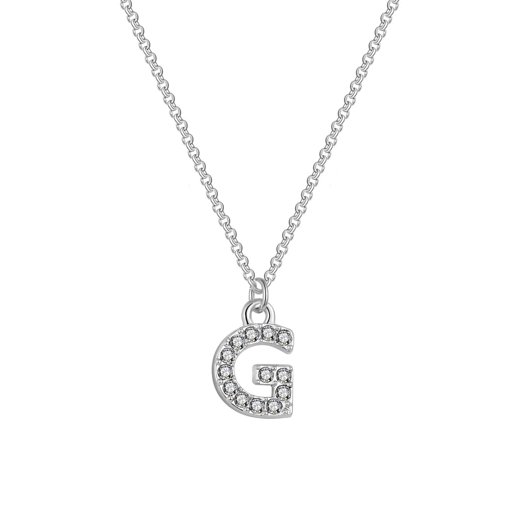 Pave Initial Necklace Letter G Created with Swarovski Crystals