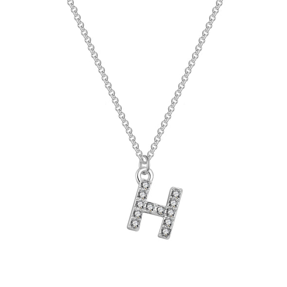 Pave Initial Necklace Letter H Created with Swarovski Crystals