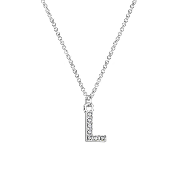 Pave Initial Necklace Letter L Created with Swarovski Crystals