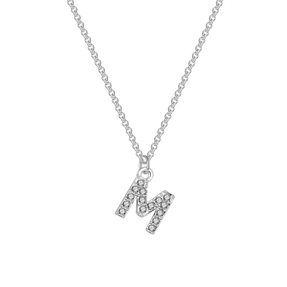 Pave Initial Necklace Letter M Created with Swarovski Crystals