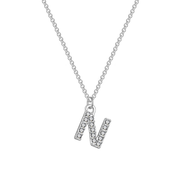 Pave Initial Necklace Letter N