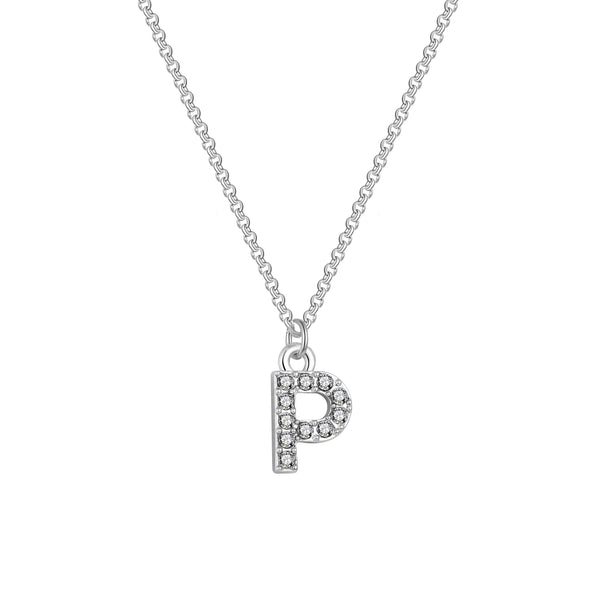 Pave Initial Necklace Letter P Created with Swarovski Crystals