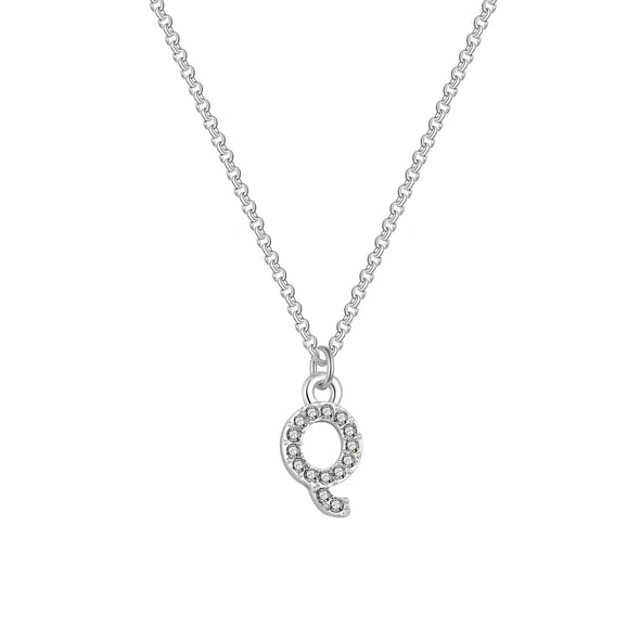 Pave Initial Necklace Letter Q